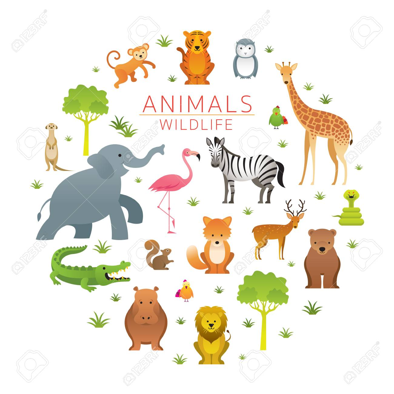 Group Of Wild Animals Zoo Entrance Sign Kids And Cute Cartoon Royalty Free Cliparts Vectors And Stock Illustration Image 114881351
