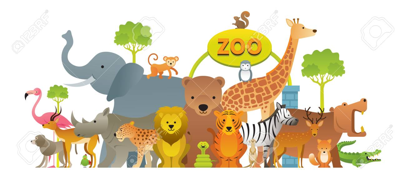 Group of Wild Animals, Zoo, Entrance Sign, Kids and Cute Cartoon..