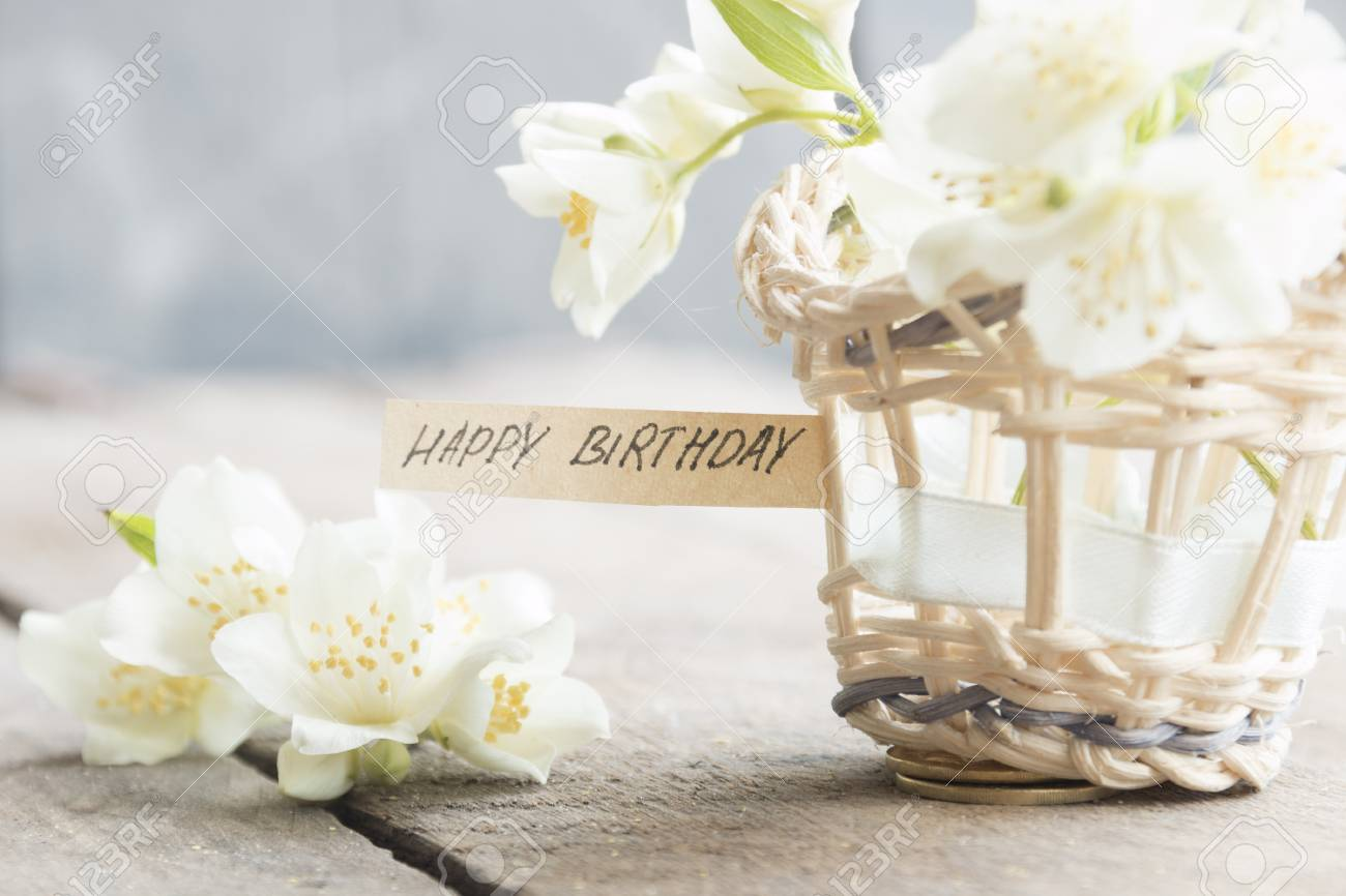 Happy birthday letter tag or label a basket of flowers birthday happy birthday letter tag or label a basket of flowers birthday greeting card stock izmirmasajfo
