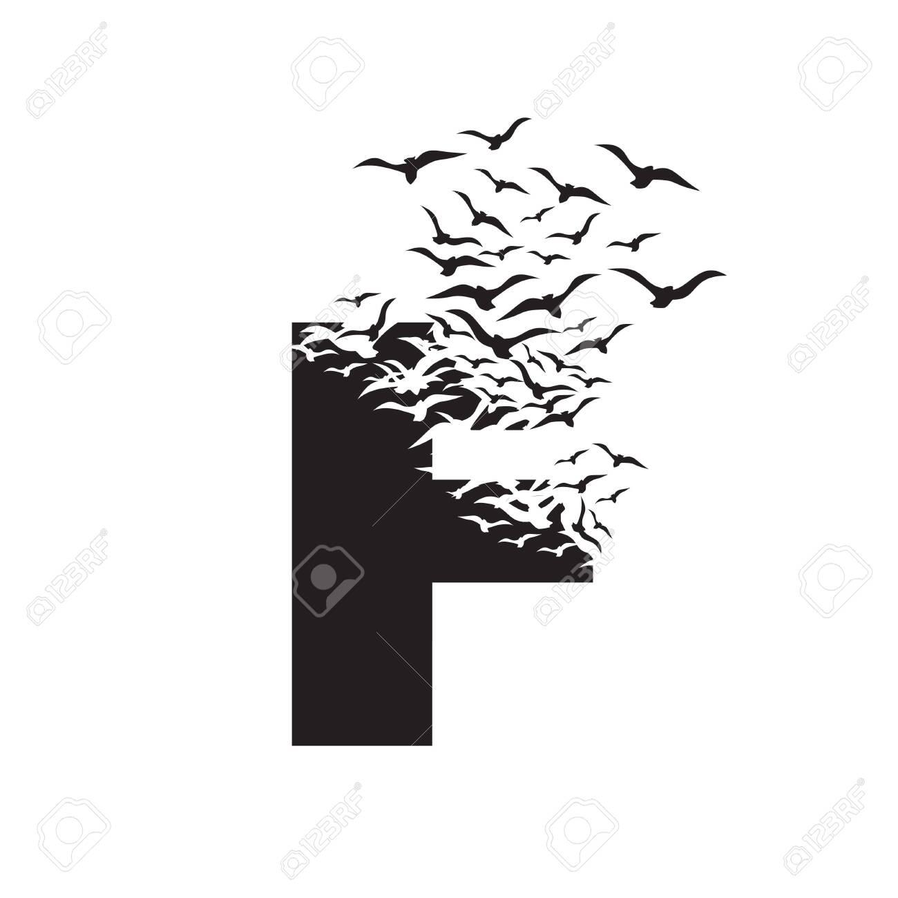 letter F with effect of destruction. Dispersion. Birds. - 135698732