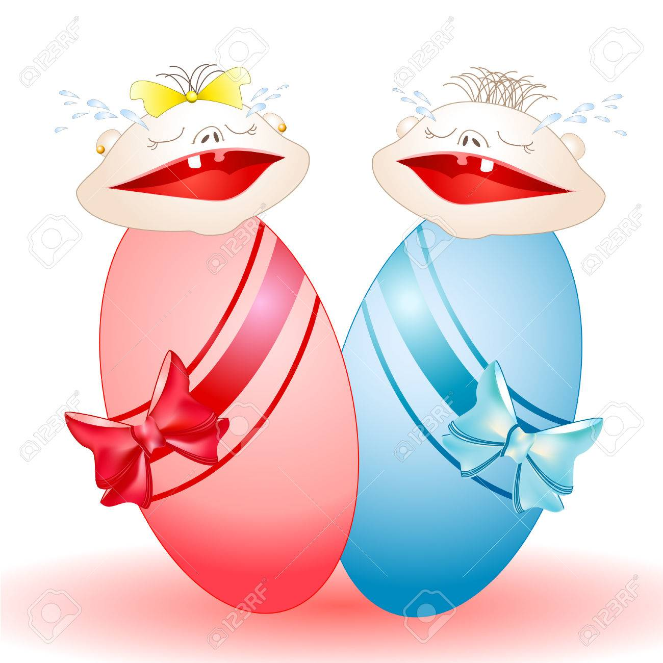 Charming crying twins-babies who have been wrapped up in diapers Stock Vector - 8162048