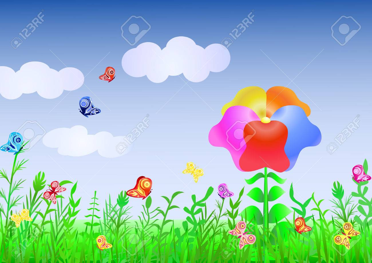 Beautiful meadow with a grass and the multi-colored flower against the dark blue sky and flitting butterflies Stock Vector - 8162049
