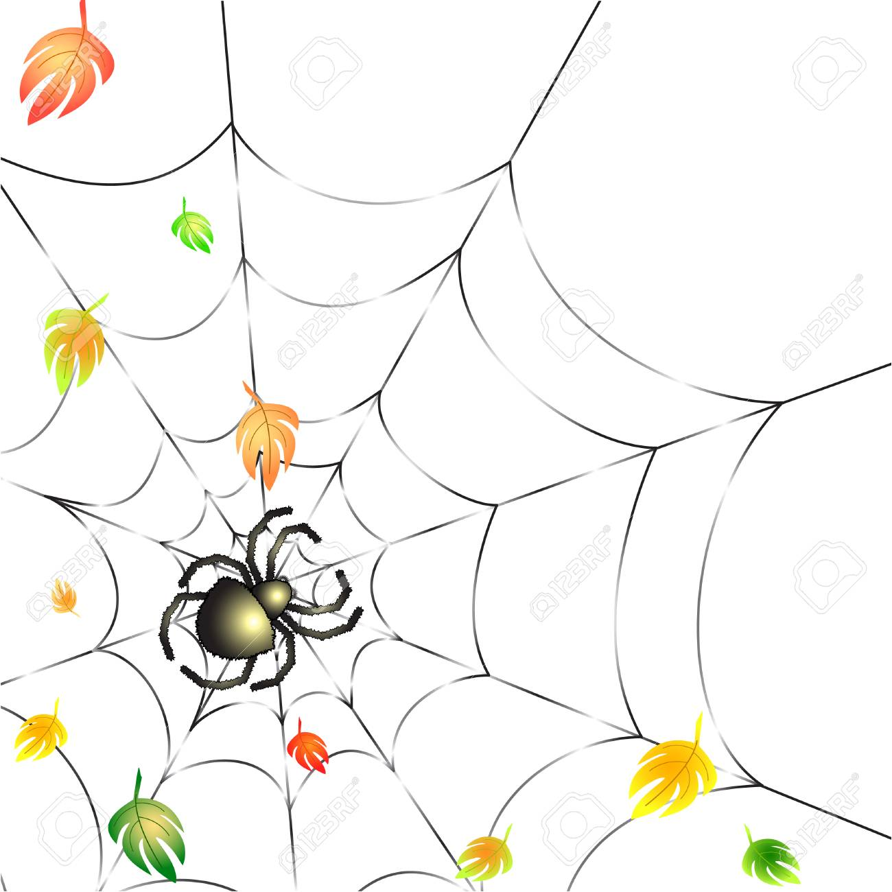 Background with Leafs and Spider on a Web in Autumn Stock Vector - 8254121