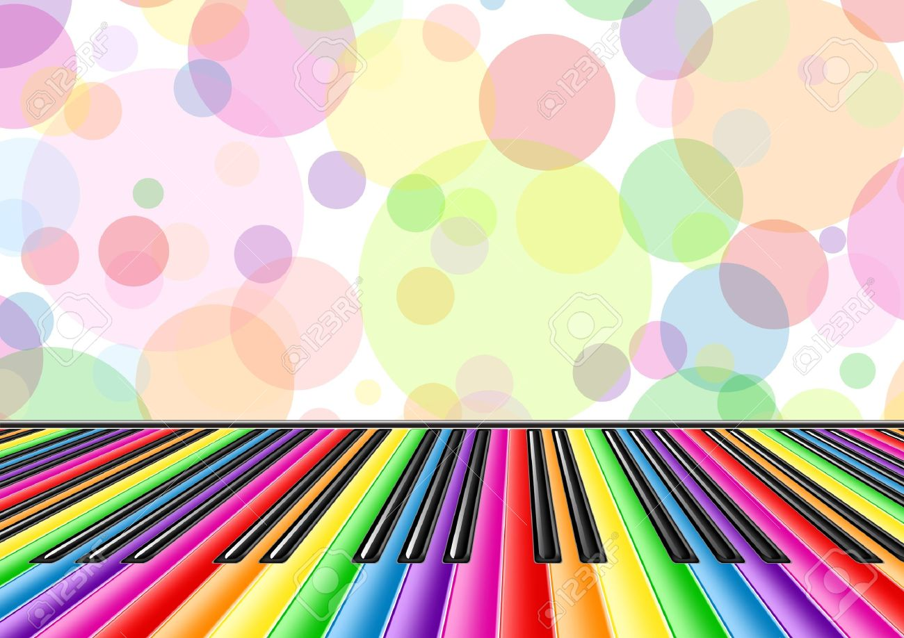 Musical background with a piano keyboard and bubbles Stock Vector - 10798506