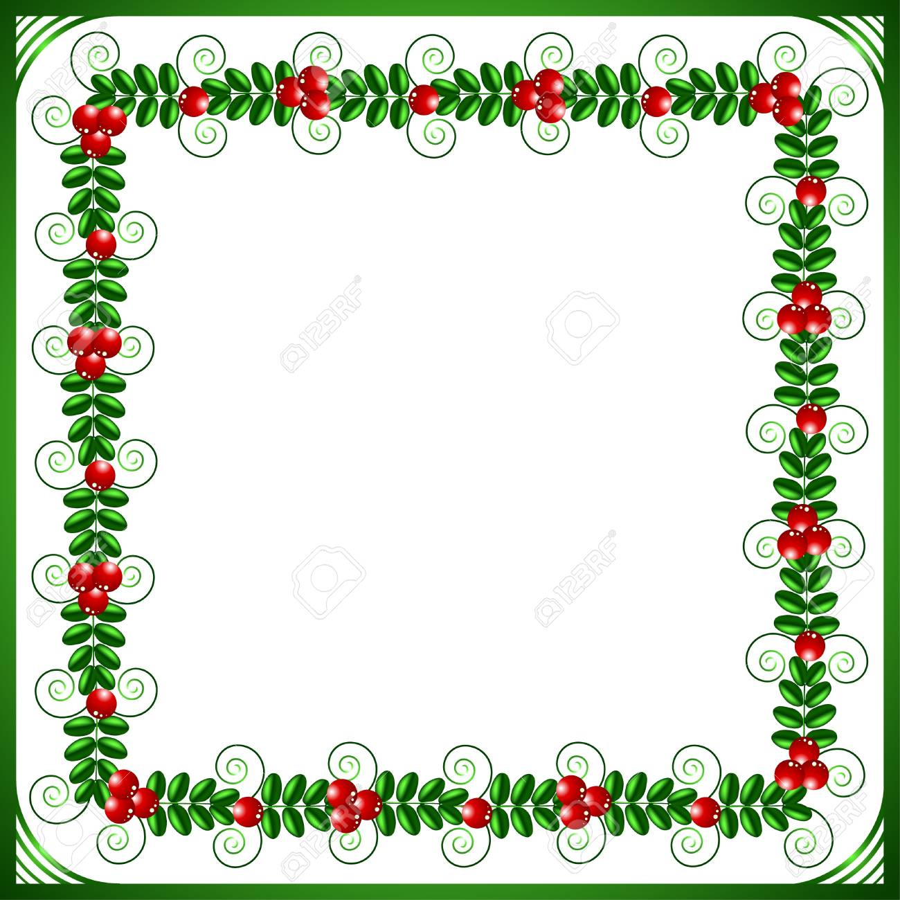 Green frame with leafs and berries on a white background Stock Vector - 10896604