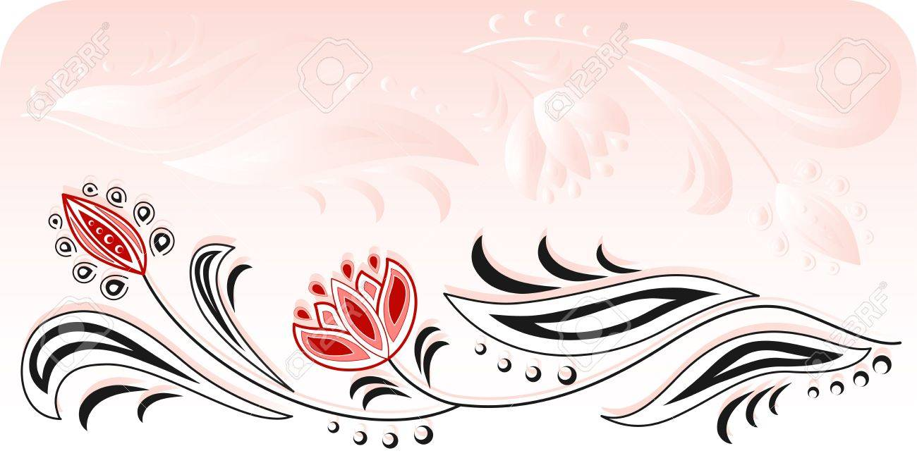 Frame of floral motive on a pink background Stock Vector - 11021302