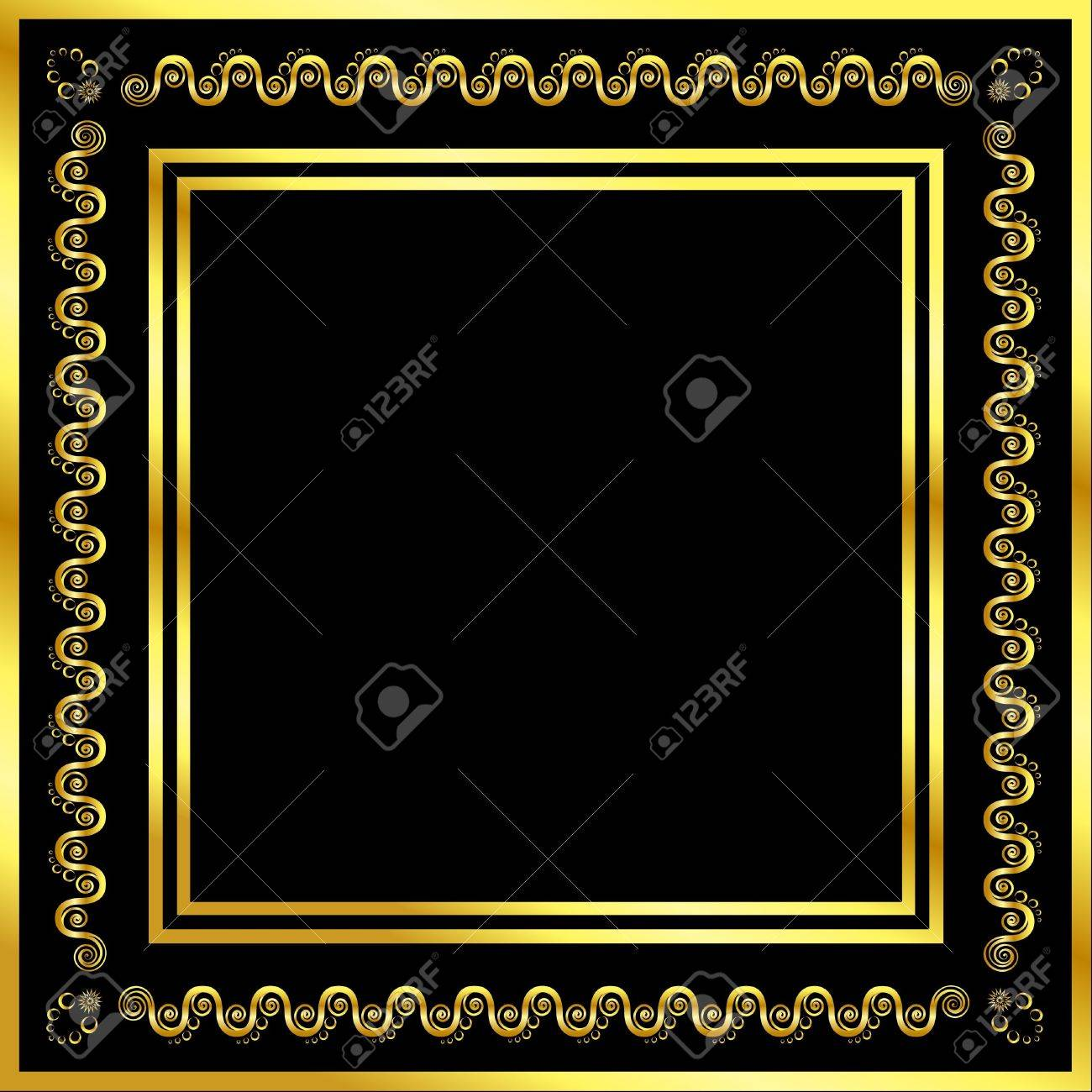 Gold pattern frame with waves and stars Stock Vector - 11131173