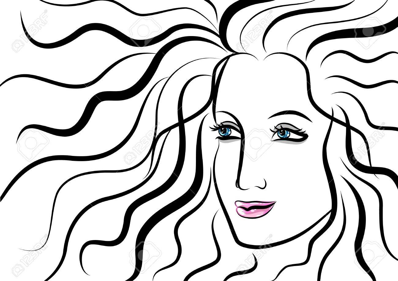 Line Drawing Face Woman : Beautiful face of woman with wavy hair royalty free cliparts