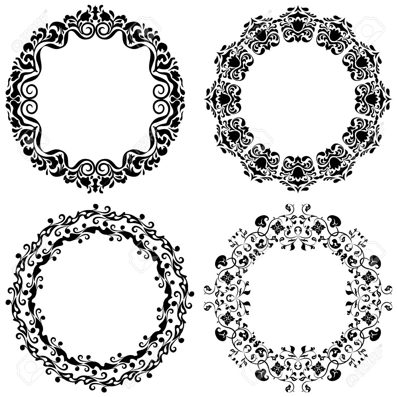 Set Of Four Graphic Round Frames In Black Color On A White ...