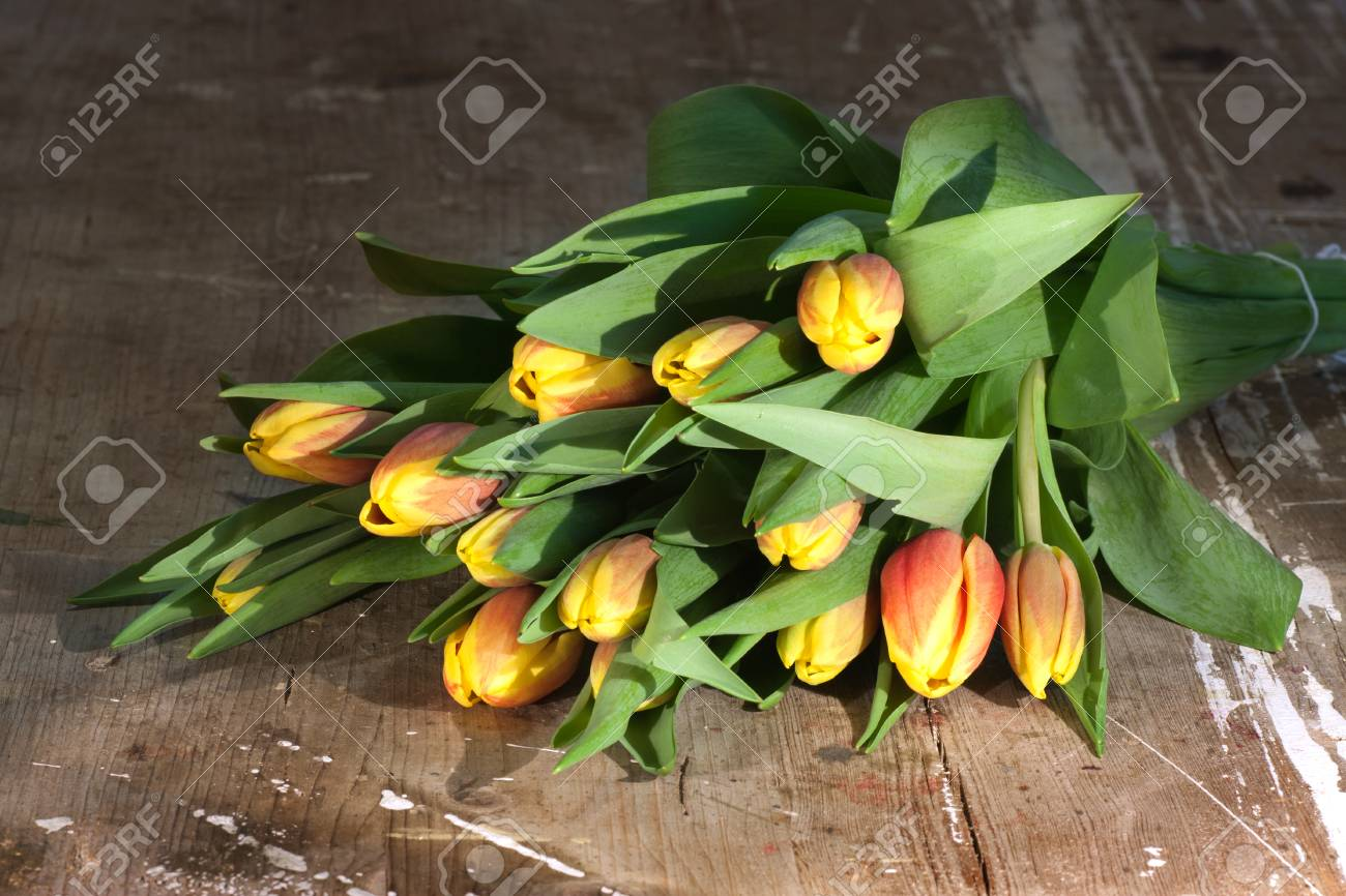 Tulips on an antique wooden background - 43356236