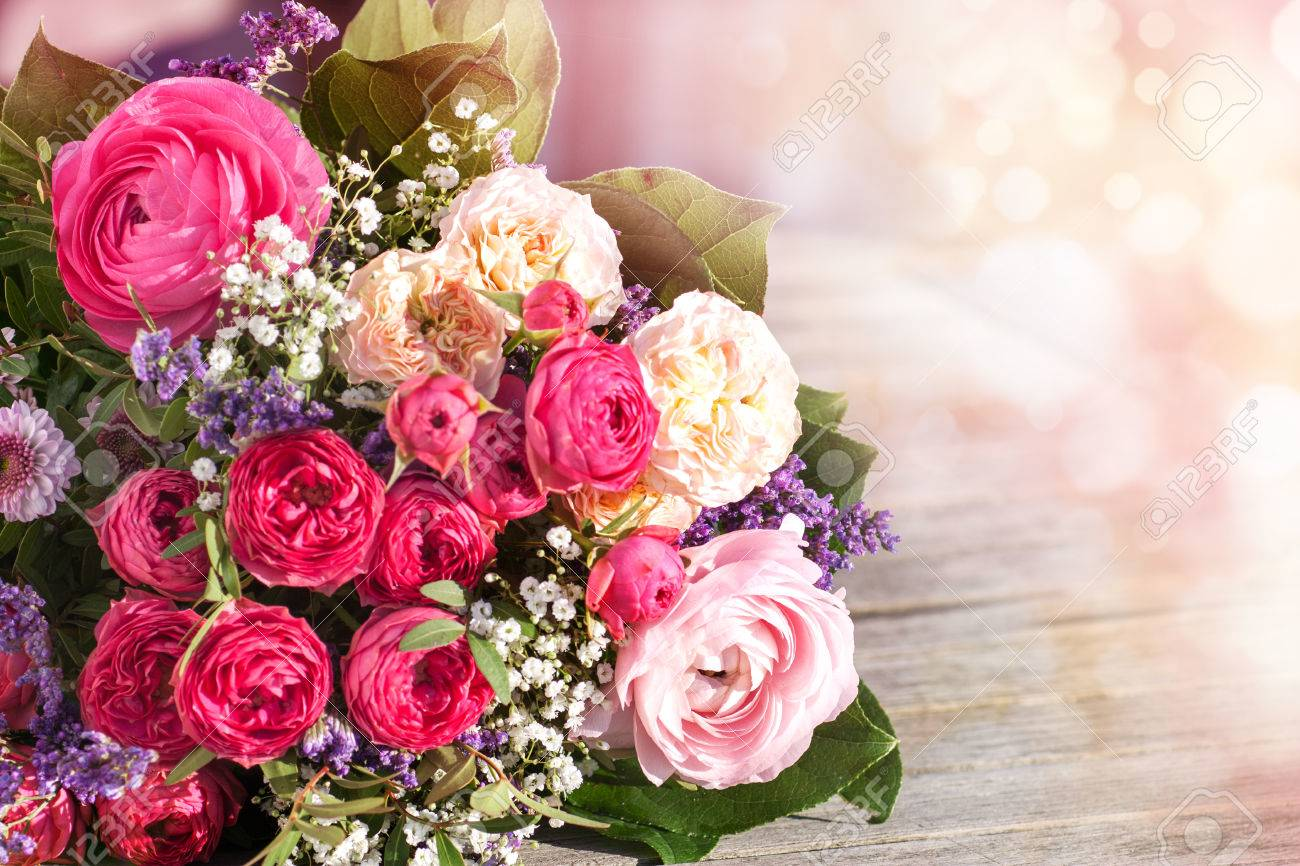 Romantic bouquet with pink roses on a vintage background - 51290550