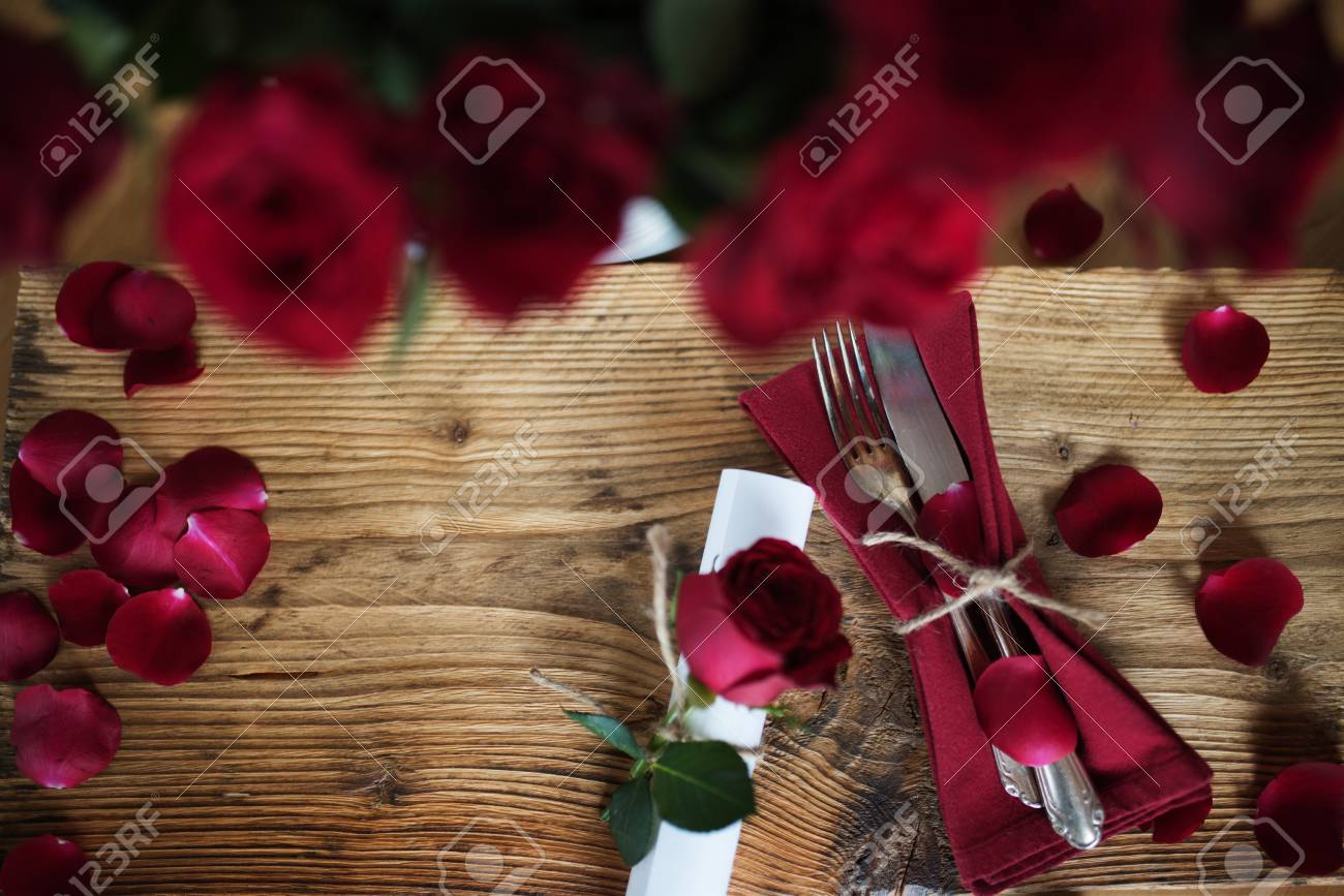 Table Decoration With Red Roses For A Romantic Dinner On Valentines Stock Photo Picture And Royalty Free Image Image 94592410
