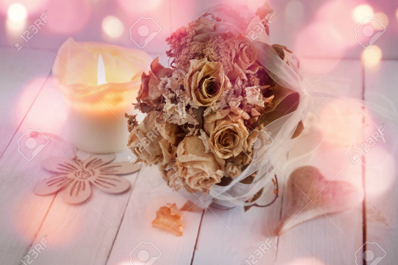 Wedding Still Life With Dried Bouquet Of Roses In Pink Vintage ...