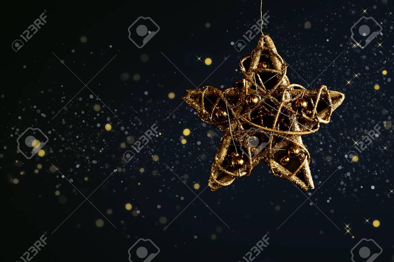 Golden Glittering Christmas Star In ...