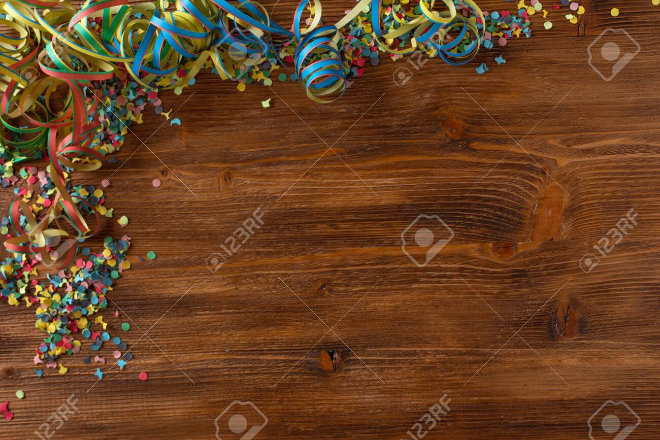 Flat lay photography with colorful carnival accessories. - 140678682