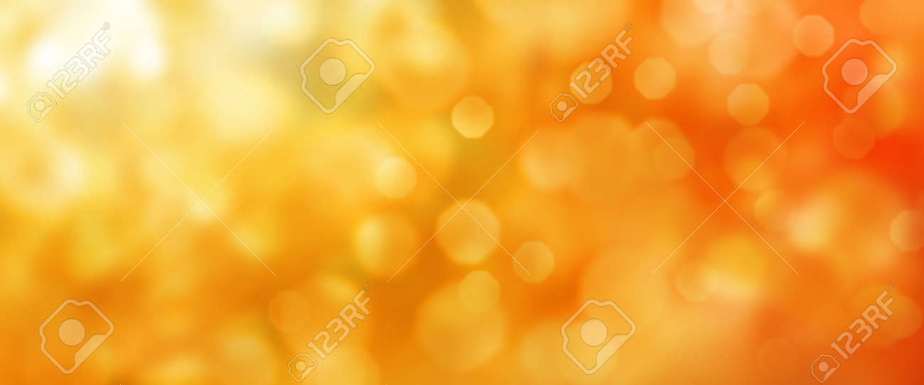Abstract orange golden bokeh texture. Horizontal background for a seasonal concept design with space for text. - 151871925