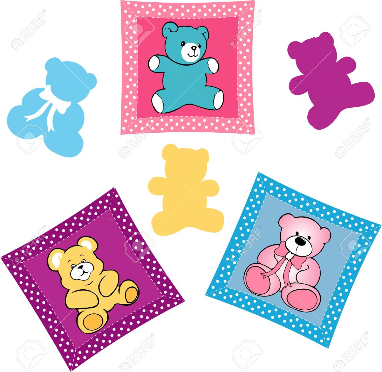 Baby shower card, teddy bears on the pillow baby rooms Stock Vector - 16760840
