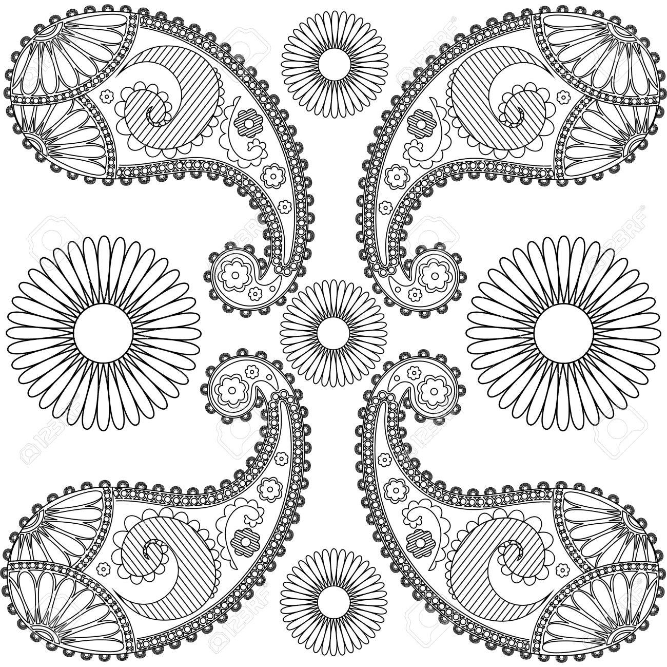 Garabatos Paisley Blanco Y Negro Mandala Páginas Para Colorear Paisley Para El Bordado Negro Y Blanco Mandala