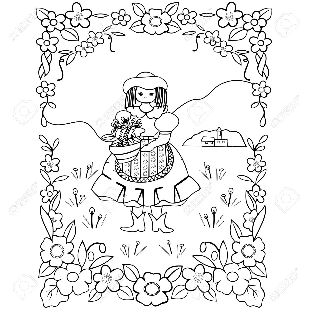 Painting For Children Cute Flower Girl Basket On A White Background