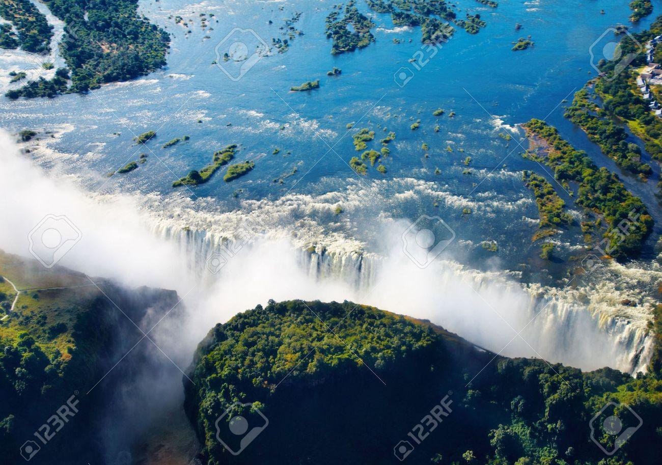 Zambezi river and Victoria Falls, aerial view - 4883536