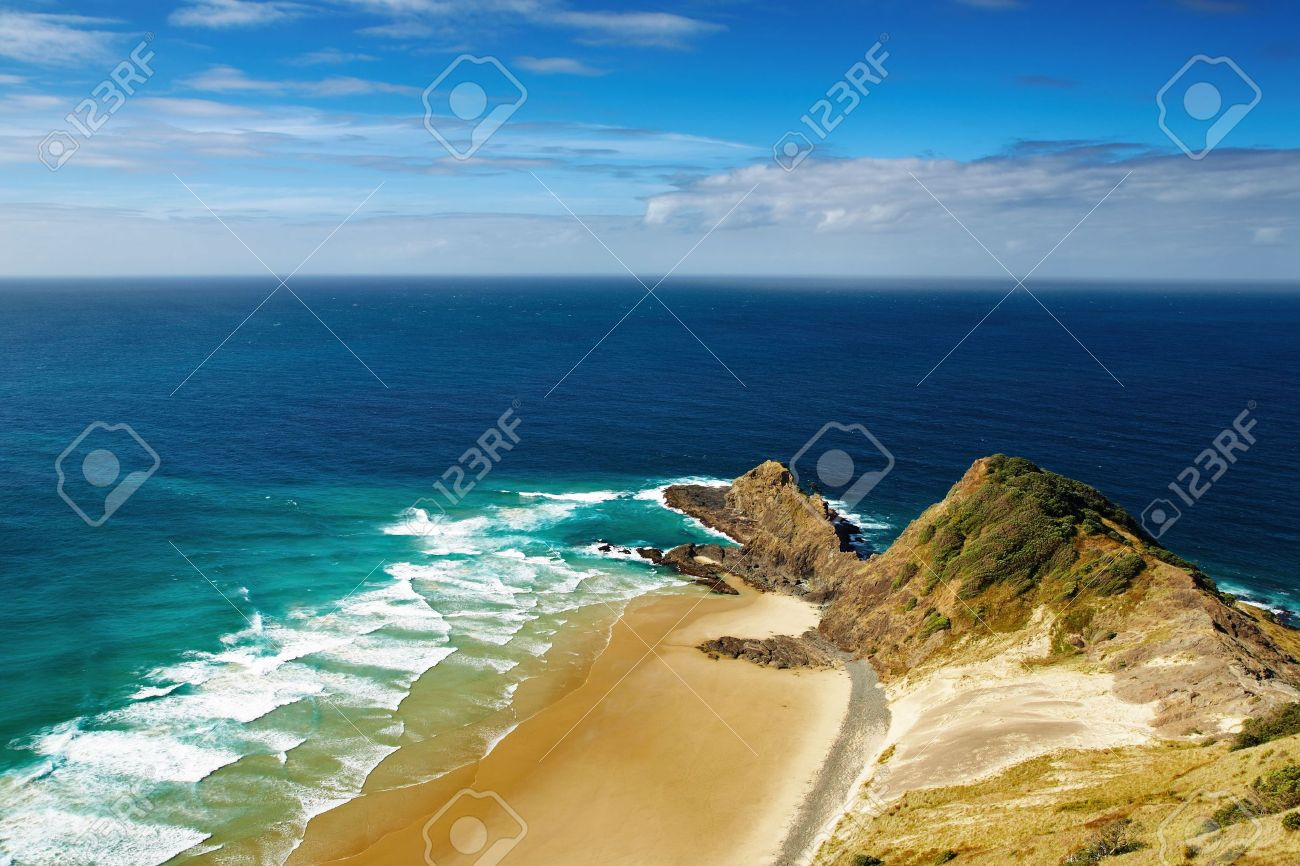 Cape Reinga, north edge of New Zealand, Indian and Pacific oceans meets here Stock Photo - 5823736