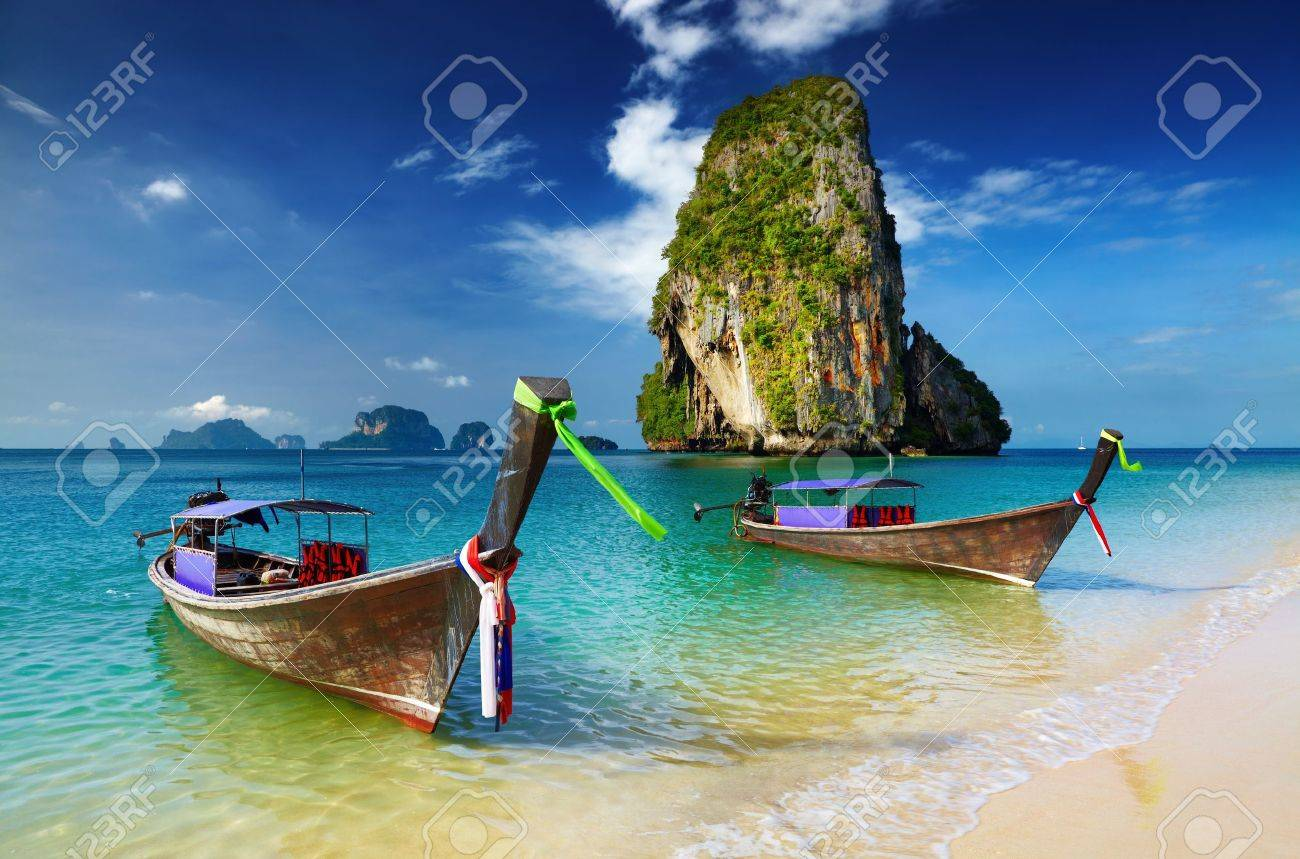 Tropical beach, longtail boats, Andaman Sea, Thailand Stock Photo - 13401792