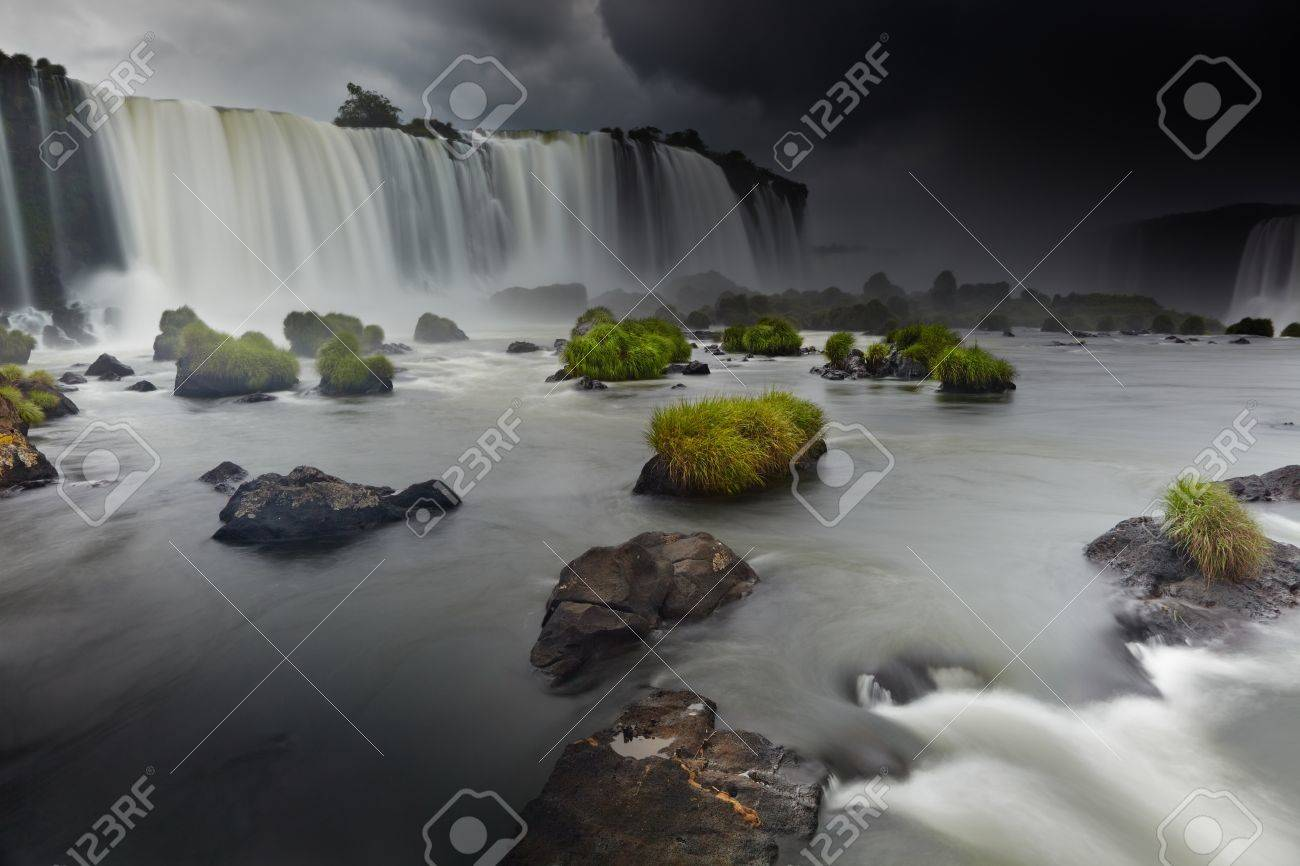 Iguassu Falls, the largest series of waterfalls of the world, located at the Brazilian and Argentinian border, View from Brazilian side Stock Photo - 14530788