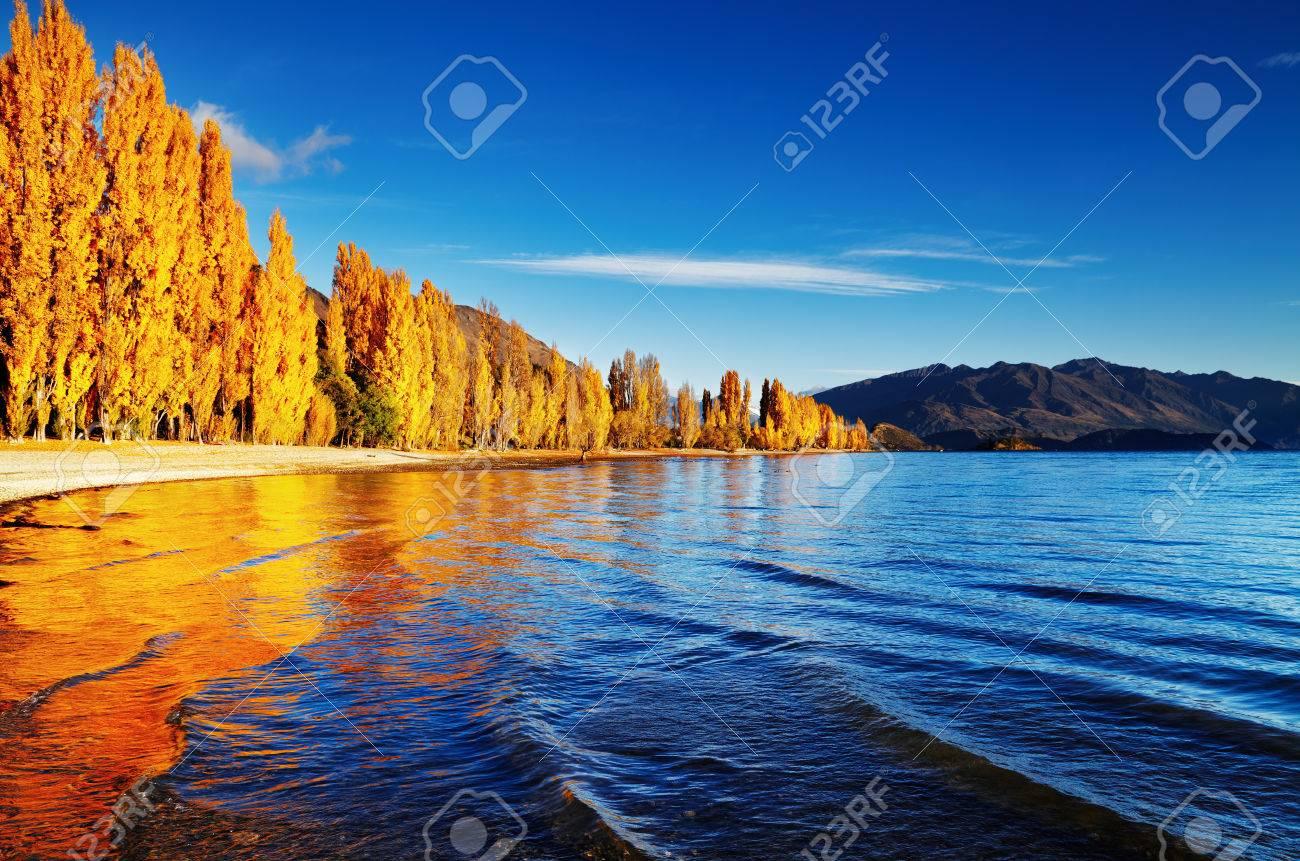 Autumn landscape, lake Wanaka, New Zealand - 31368876