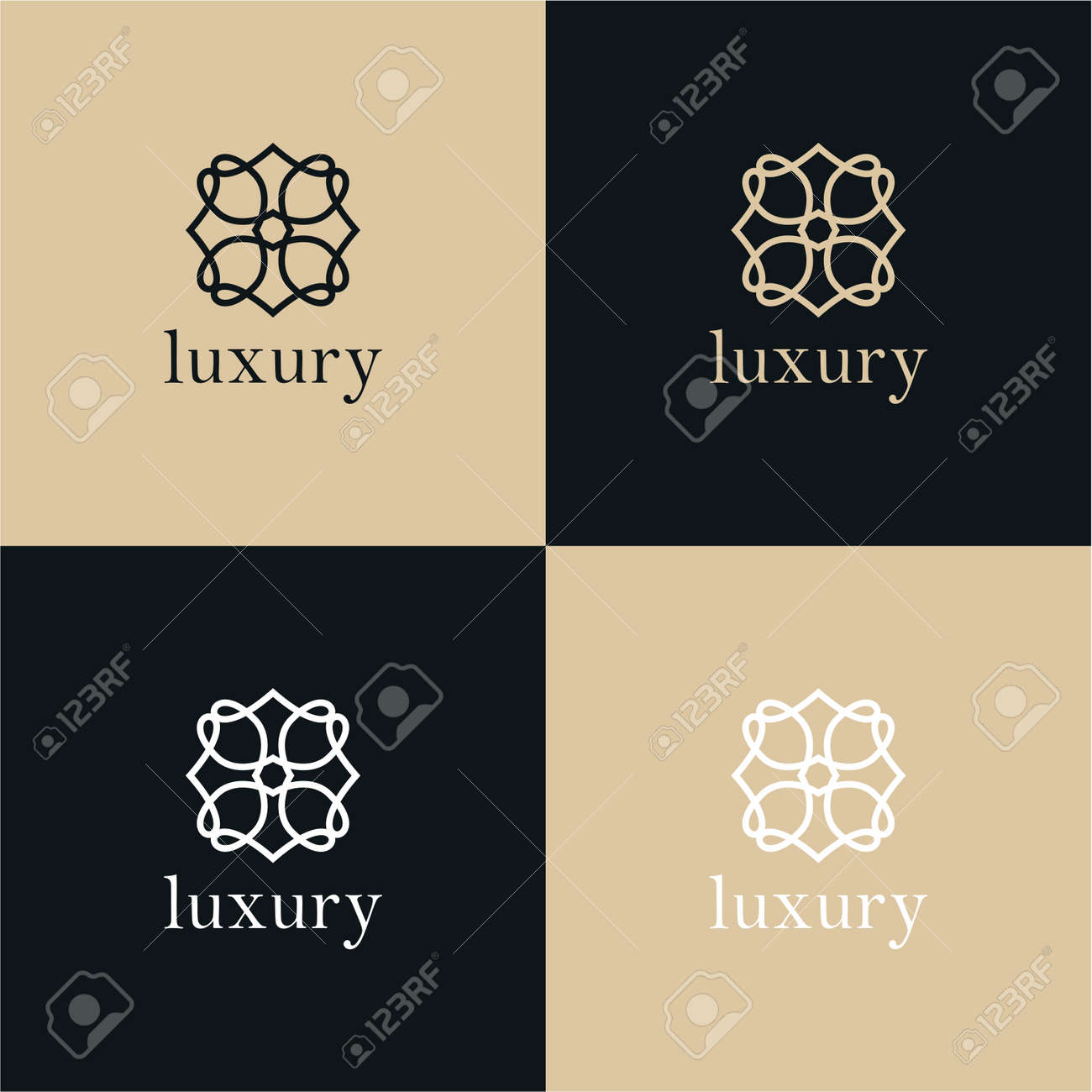 Abstract tree leaf flower logo icon vector design. Universal creative premium symbol. Graceful jewel boutique vector sign. - 139833328