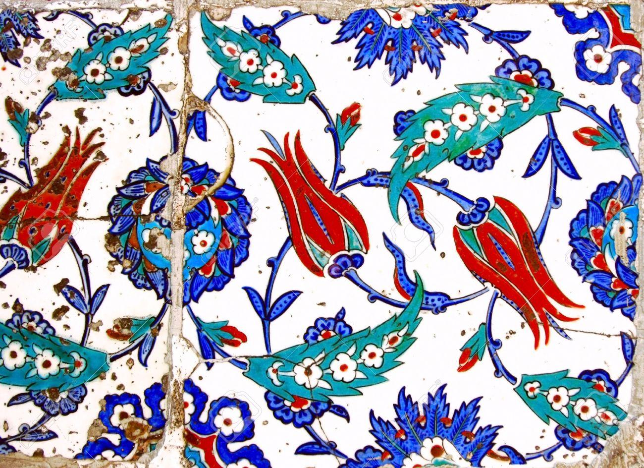 Alte Handgefertigte Türkische Fliesen Lizenzfreie Fotos Bilder Und - Fliesen auf türkisch