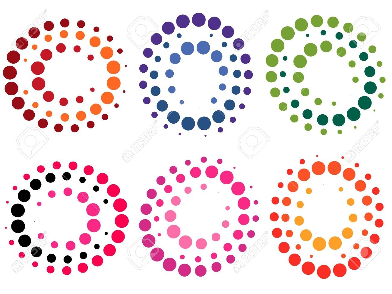Collection Of Colored Dot Symbols Illustration Royalty Free