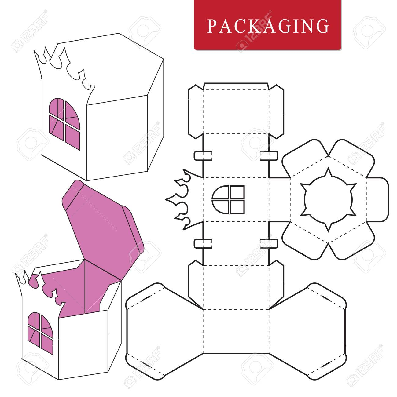 Package for object.Vector Illustration of Box. - 123945283