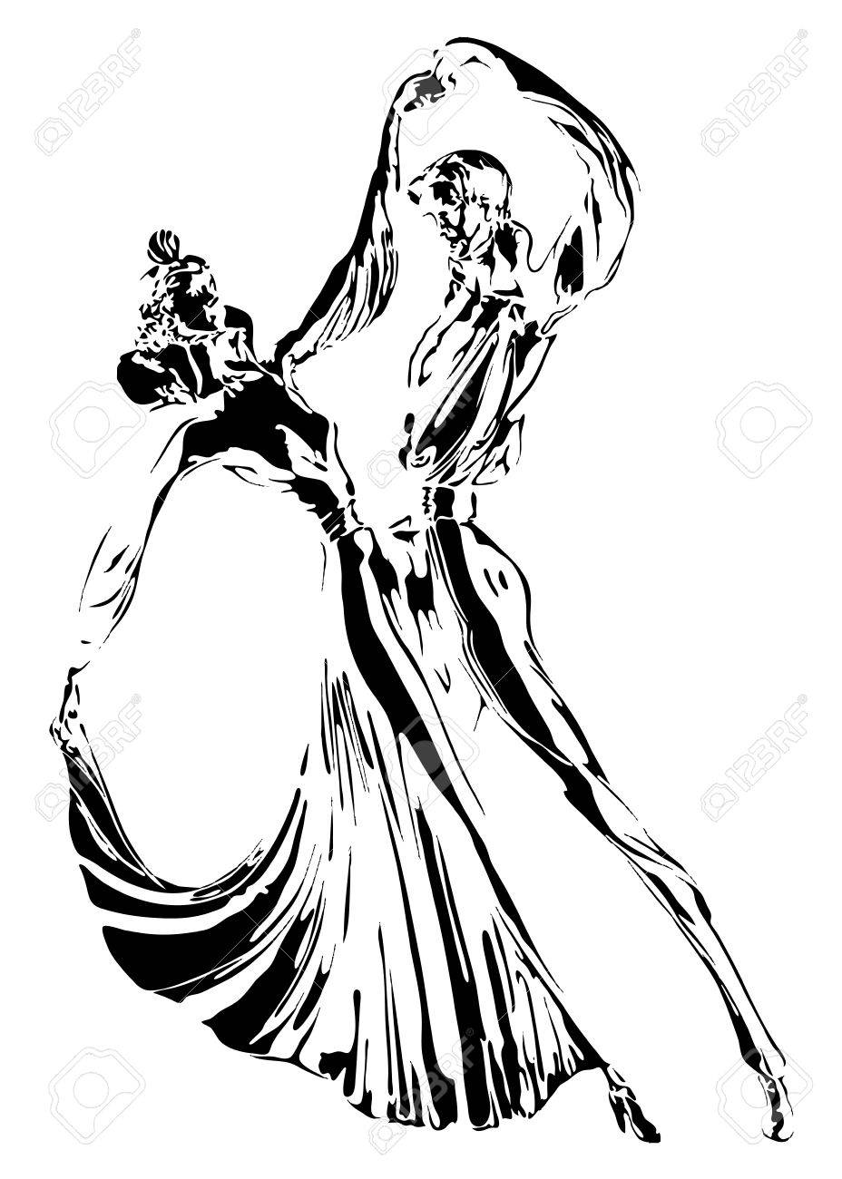 Schwarze Silhouette Tanzpaar. Isoliert Auf Weiß Lizenzfrei Nutzbare ...