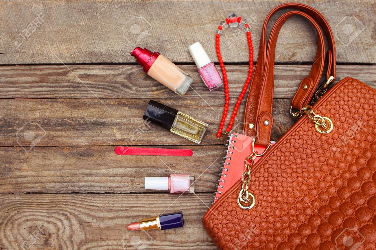 Things From Open Lady Handbag Women S Purse On Wood Background