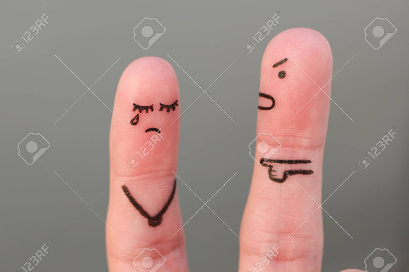Fingers art of family during quarrel. Concept of husband shouts on wife - 91515989