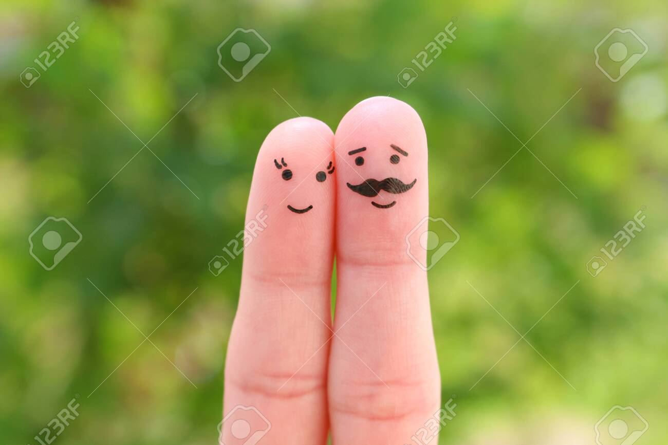 Fingers art of happy couple. Man and woman hug. - 131144991