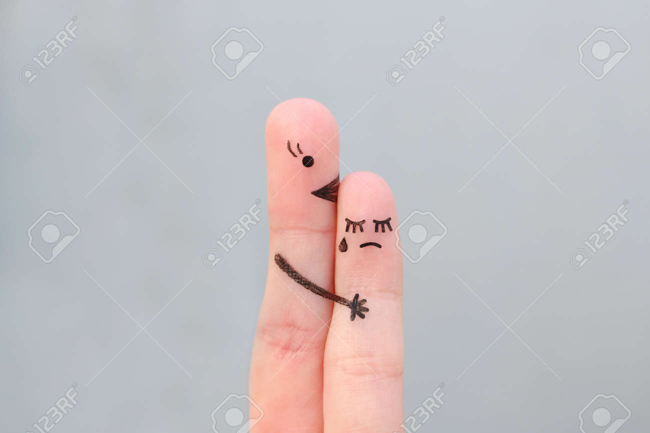 Fingers art of people. Child cries, mother reassures his. - 164049133