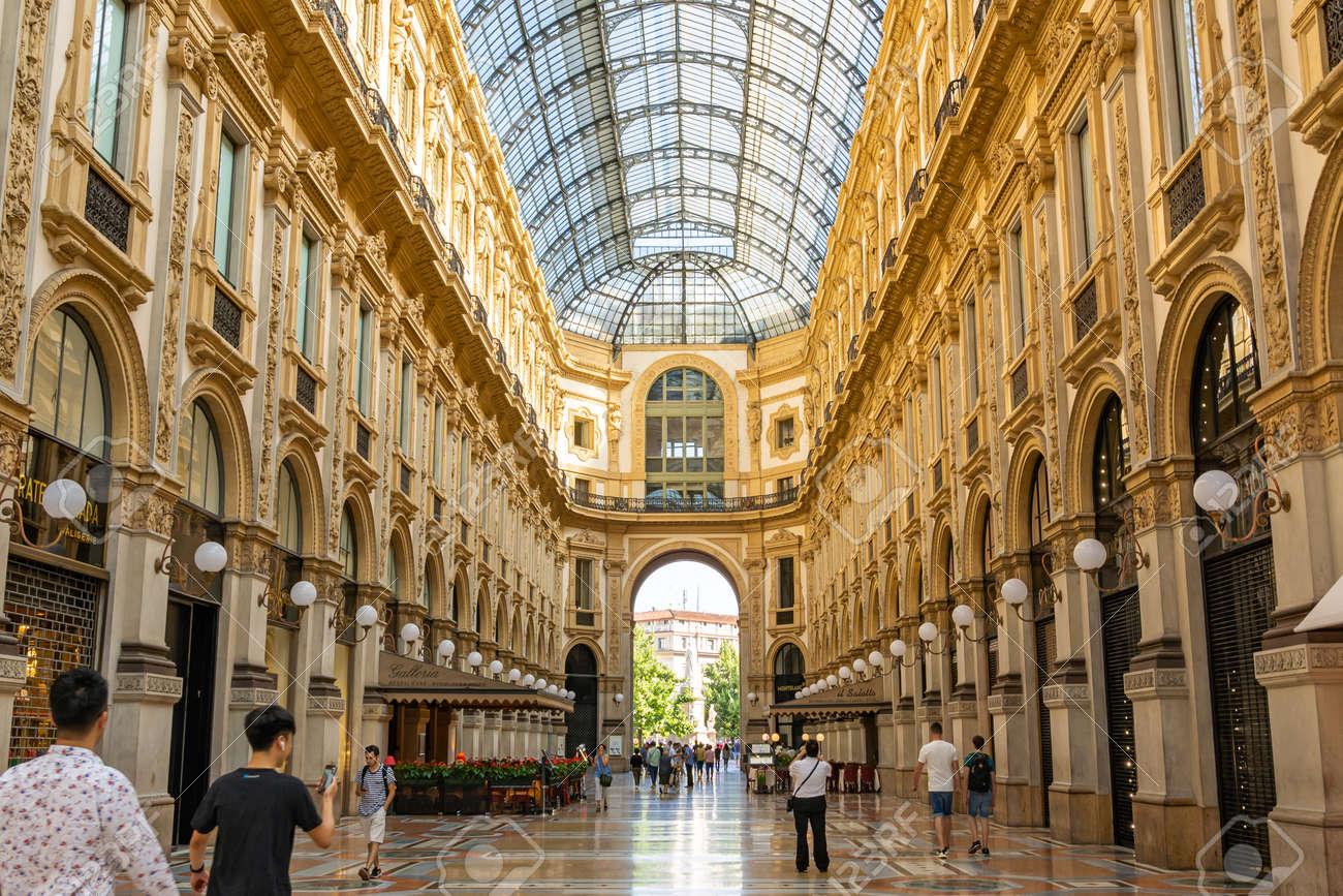 MILAN, ITALY - JUNE 23, 2019: Beautiful architecture inside Galleria Vittorio Emanuele II shopping mall - 166776707