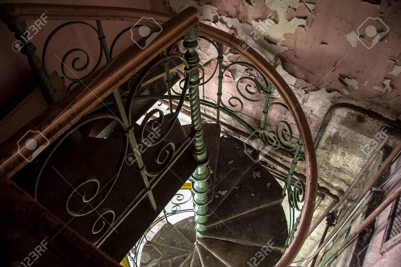 Spiral Staircase In An Abandoned Voronezh Distillery Stock Photo