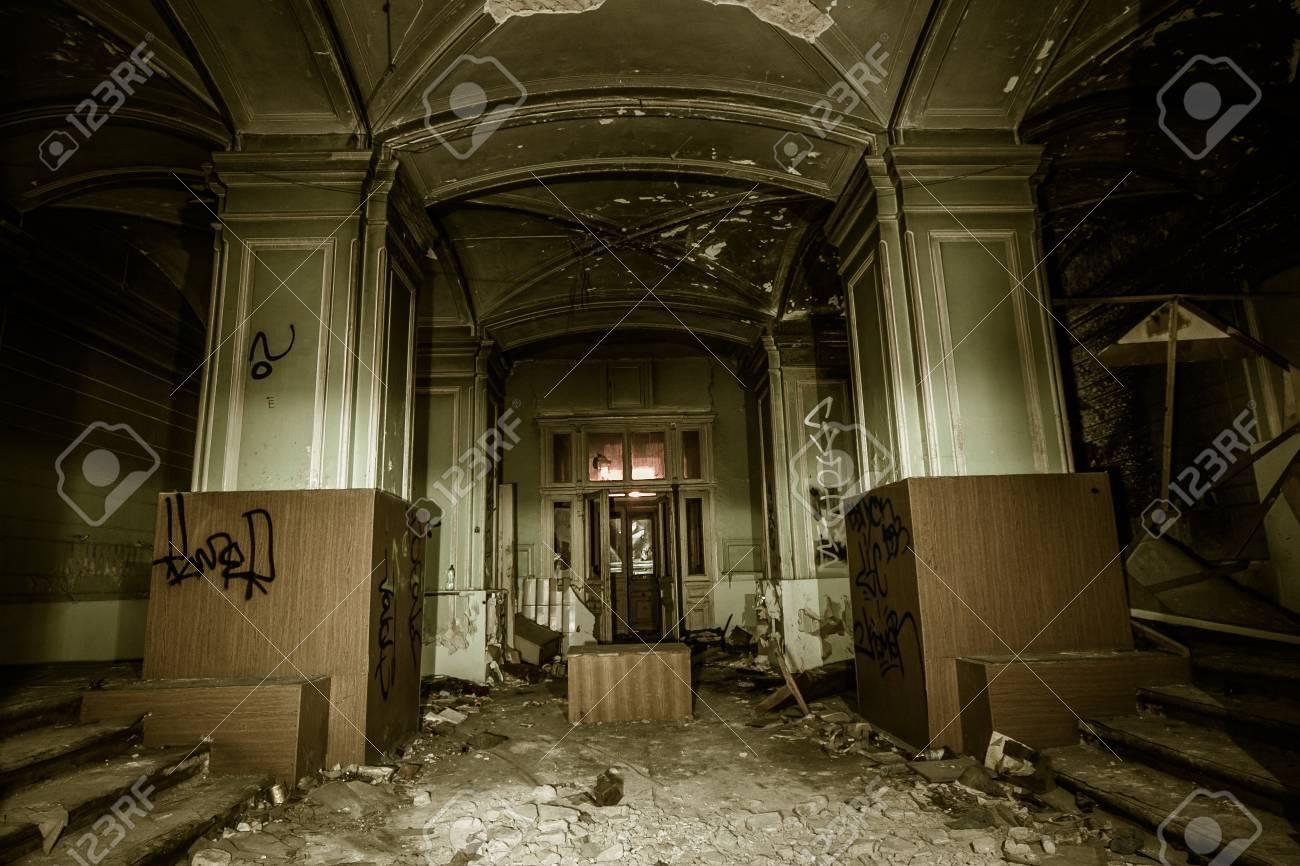 Interior of historical old abandoned burned mansion, Saint Petersburg