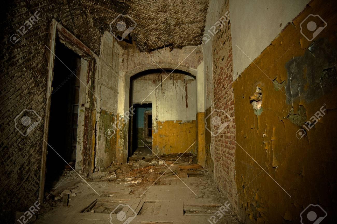 Inside of old creepy abandoned mansion  Former manor of Karl