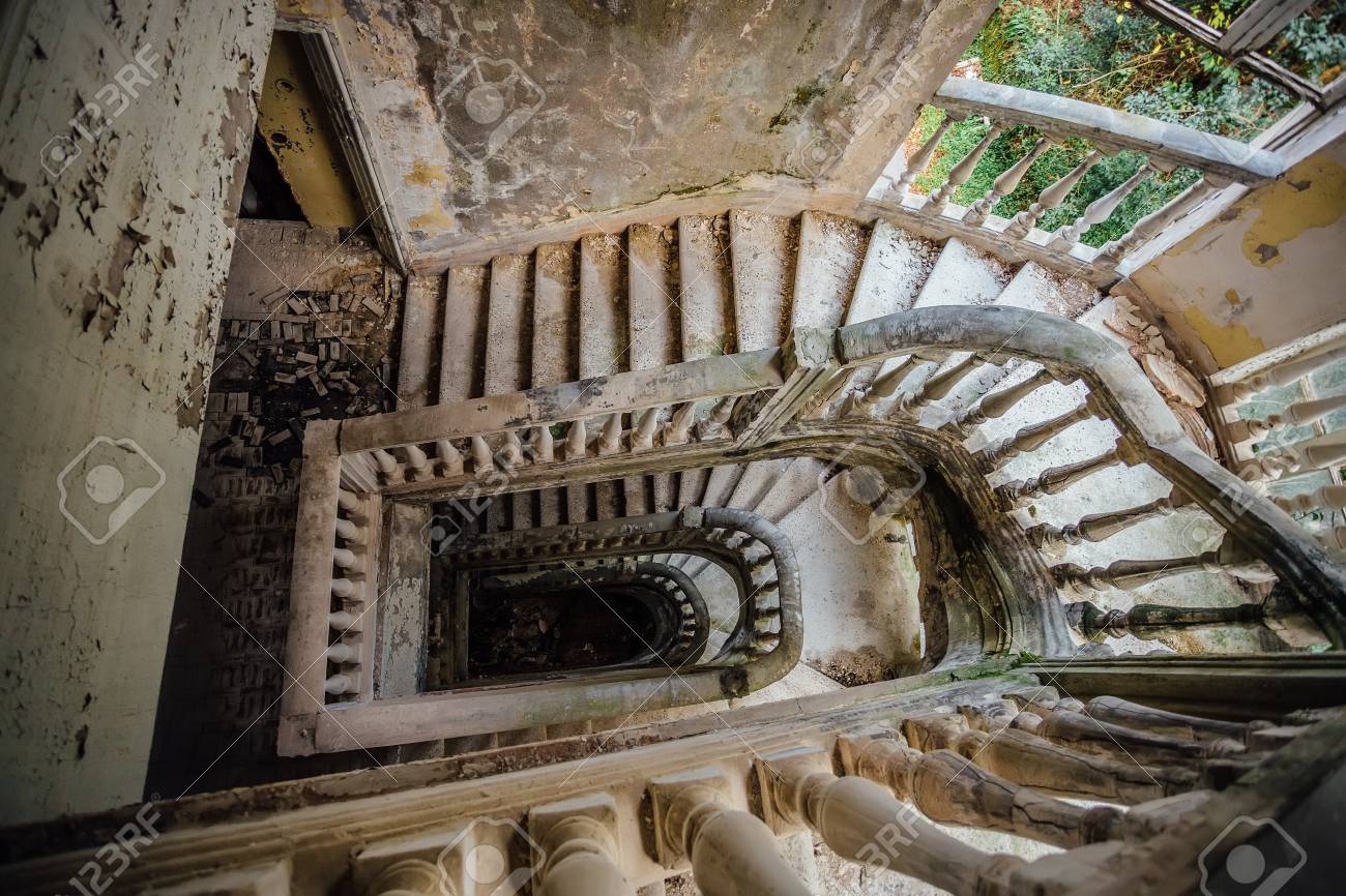 Stock Photo   Top View Of Old Vintage Decorated Staircase In Abandoned  Mansion.