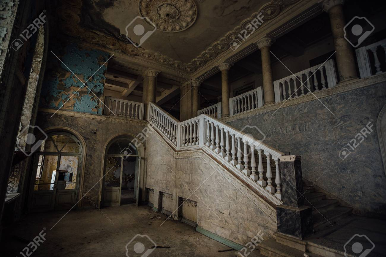Inside Of Old Creepy Abandoned Mansion. Staircase And Colonnade. Stock  Photo   93457233