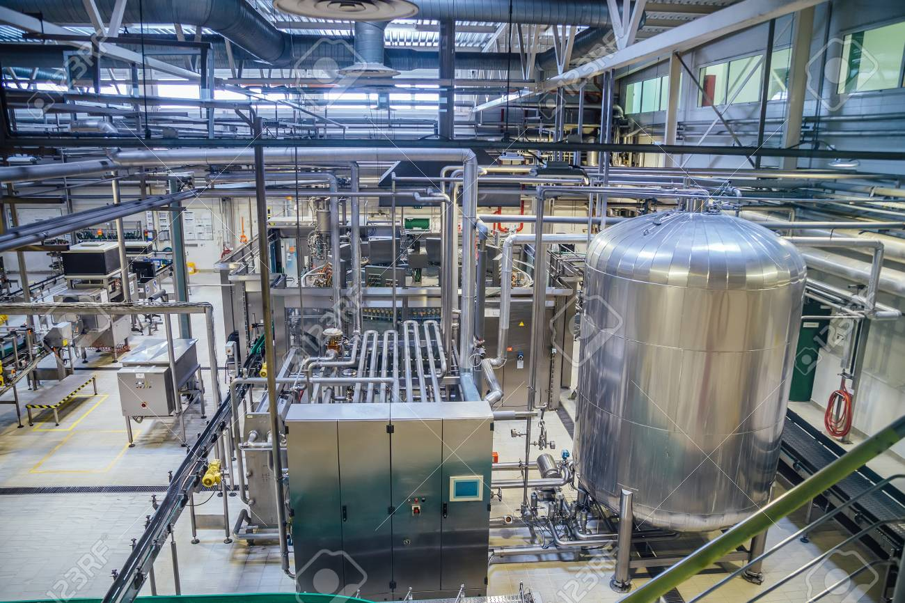 Fesselnd Modern Brewery Production Line. Large Vat For Beer Fermentation And  Maturation, Pipelines And Filtration