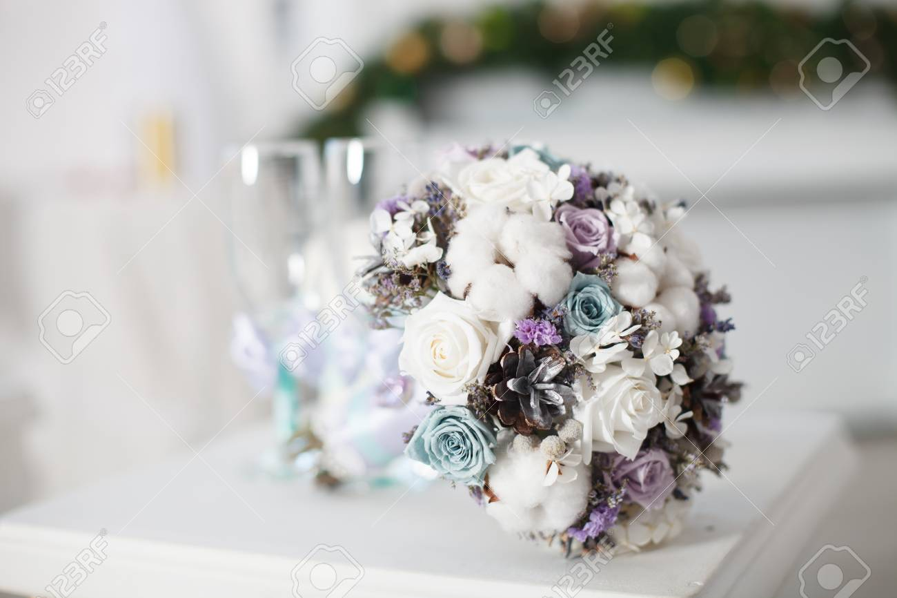 Winter Wedding Bouquets.Winter Wedding Bouquet Wedding Bouquet Of Flowers Lying On A