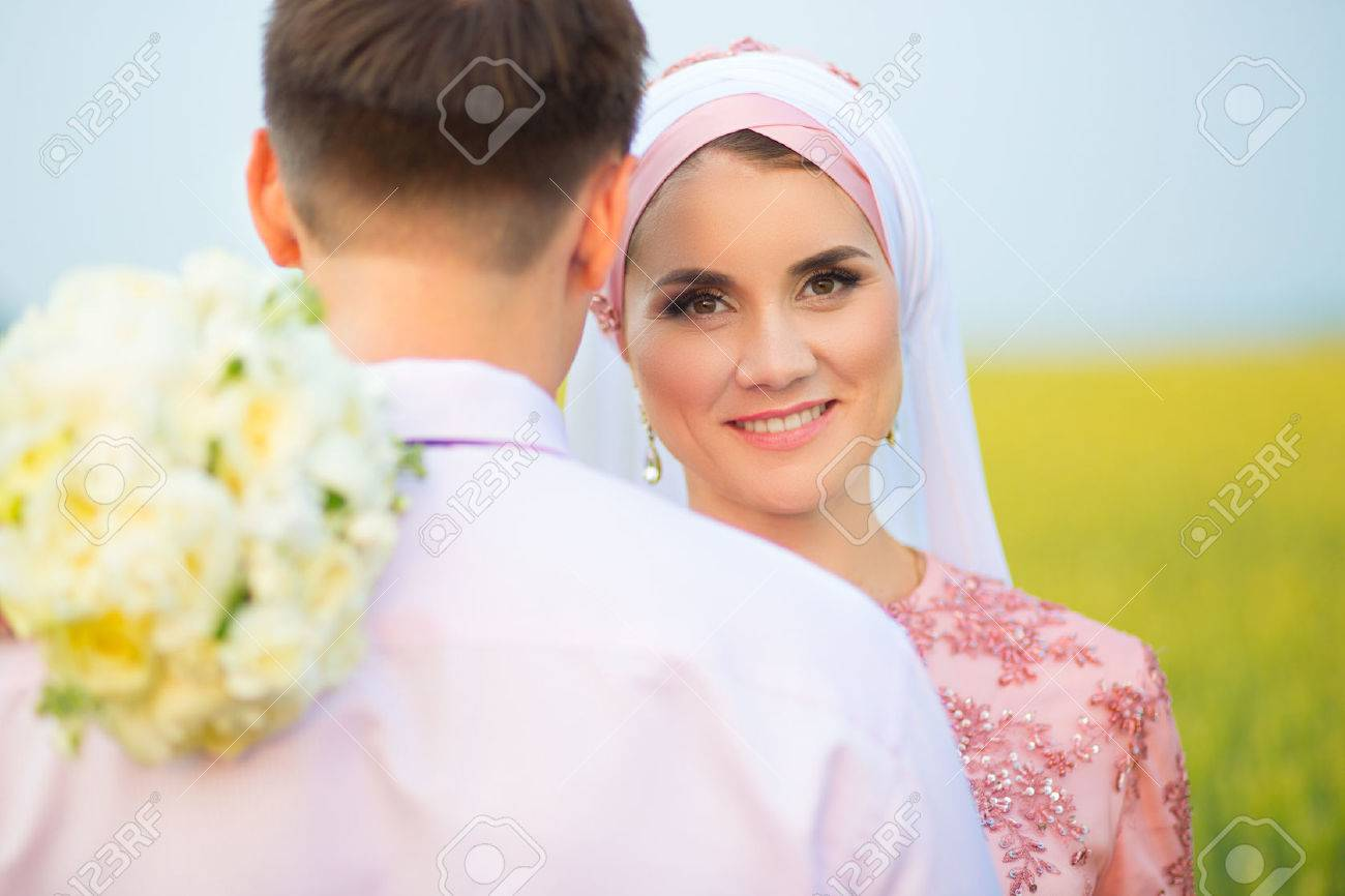 Wedding muslim couple during the marriage ceremony  Muslim marriage