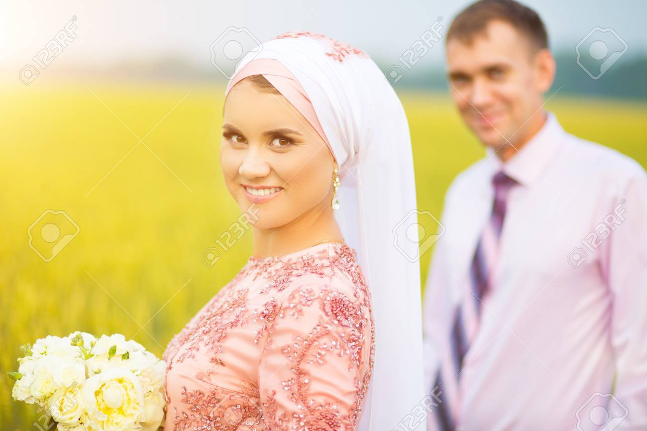 National wedding  Bride and groom  Wedding muslim couple during