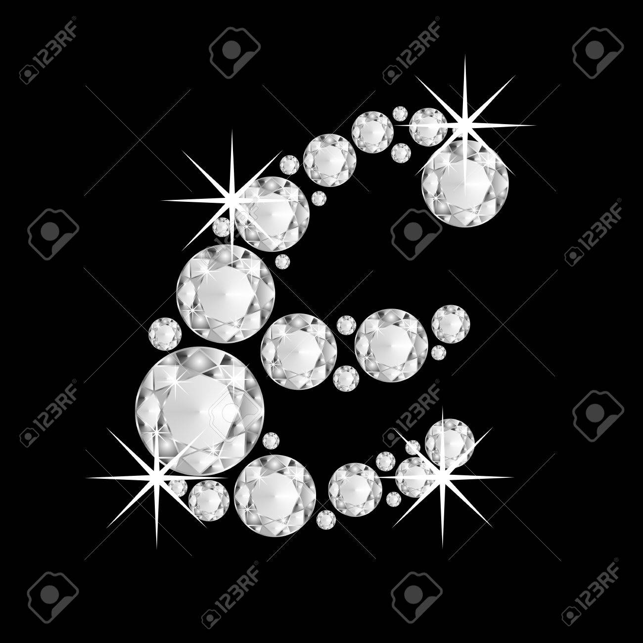 Background image e - Luxury Jewelry Alphabet Or Font With Diamonds On Black Background Letter E Stock Photo 19958943