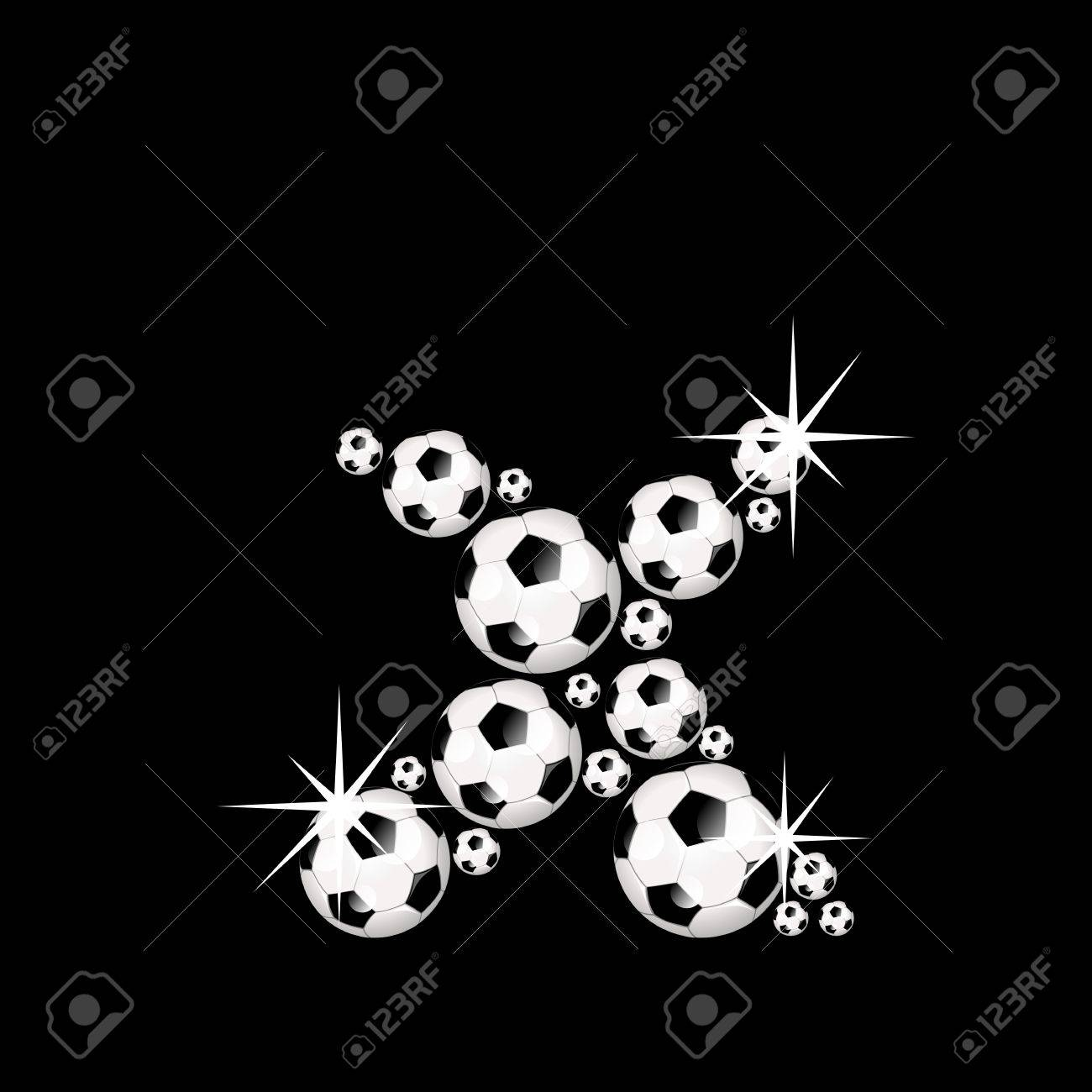 Soccer Or Football Alphabet Letter X Illustration Icon With Shiny