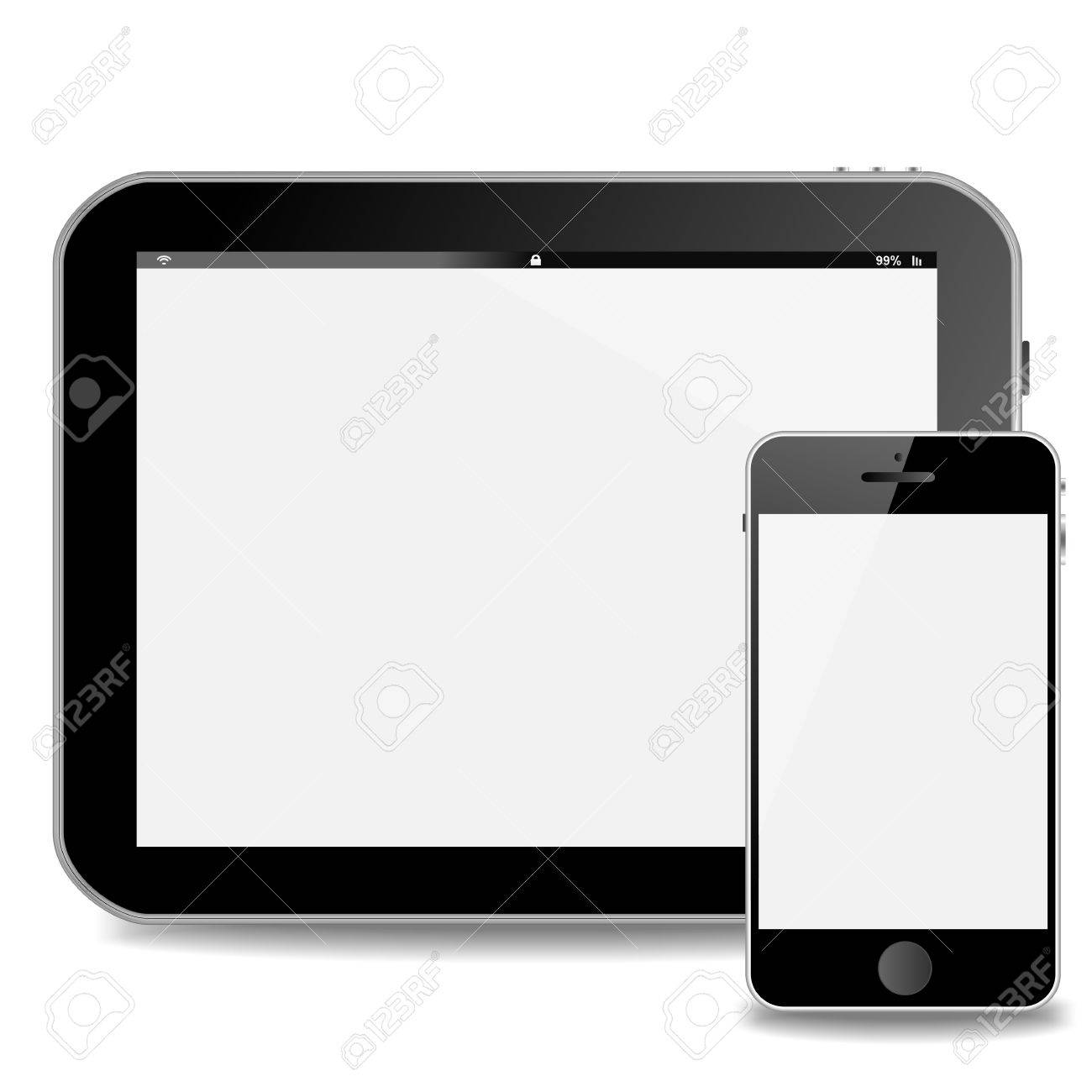 tablet pc or pad horizontal and vertical smart phone with white
